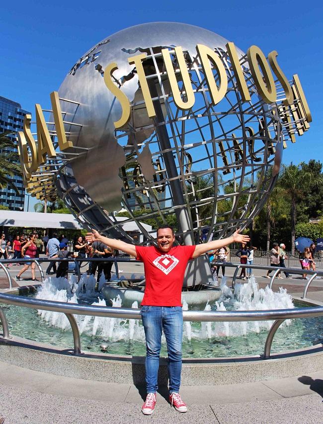 Igor Righetti all'interno del parco a tema Universal Studios Hollywood. Foto Grigore Scutari