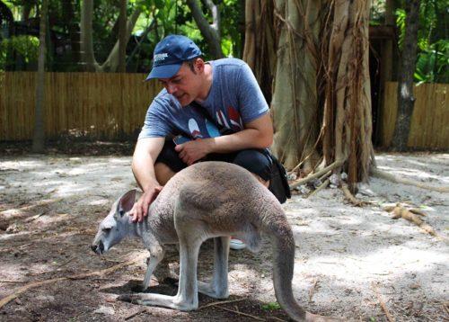 Igor Righetti con un cucciolo di canguro a Jungle Island. Foto Grigore Scutari