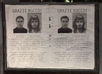 """Il """"Dinamico duo"""" Diaferia e Davi colpisce ancora a Milano con poster del boss Morabito transgender"""