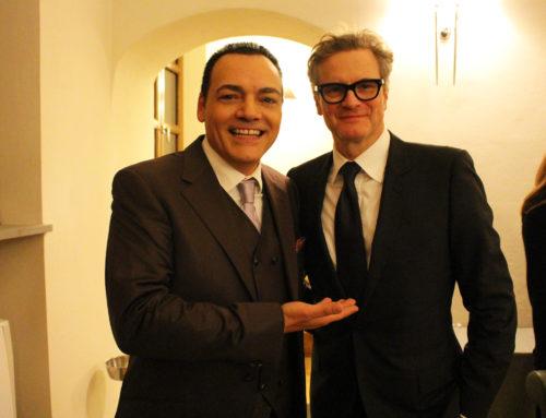 Igor Righetti con il premio Oscar Colin Firth che ha ricevuto il Premio Apoxiomeno per il cinema internazionale dedicato ad Alberto Sordi