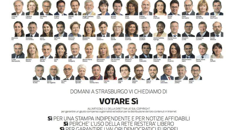 Appello FIEG agli Europarlamentari italiani