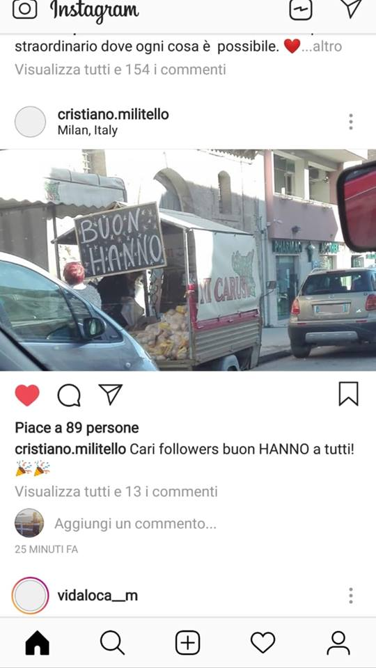 Cristiano Militello cartello Ireneo Moscato Buon Hanno su Instagram