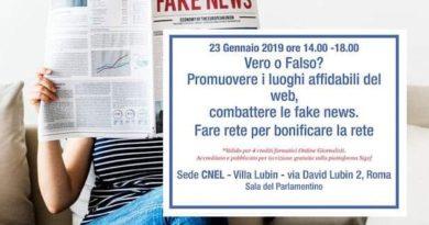 Roma, dopodomani il convegno internazionale sulle fake news