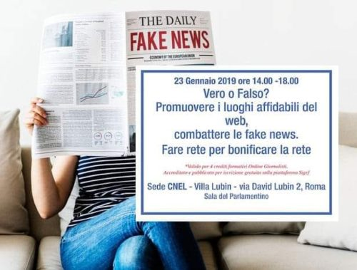 Roma Locandina Convegno internazionale Ass Quality News su Fake News Cnel 23 gennaio 19