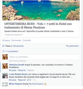Commento di Valentina in un post in target