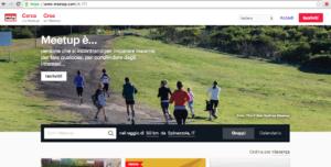 La dashboard per accedere a Meetup
