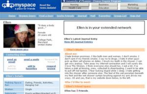 Un vecchio profilo di Myspace