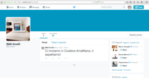 Profilo del B&B Amalfi su Twitter