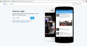 La dashboard per accedere a Twitter