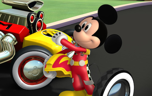 "MICKEY AND THE ROADSTER RACERS - ""Mickey's Wild Tire!"" - Mickey tries to surprise racing champion Jiminy Johnson with a tire from his first roadster. This episode of ""Mickey and the Roadster Racers"" airs Sunday, January 15 (9:00 - 9:25 A.M. EST) on Disney Junior. (Disney Junior) MICKEY MOUSE"